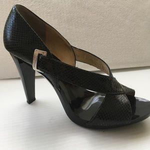 Michael Kors heels snake skin upper open toe shoes